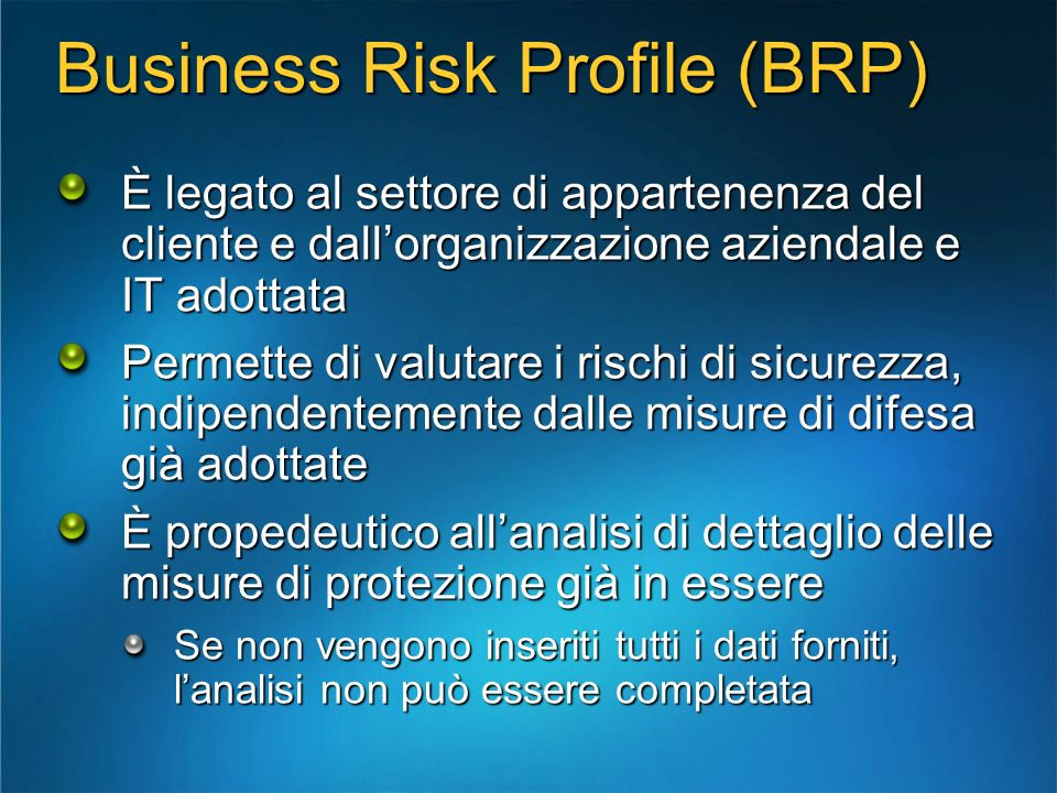 Business Risk Profile (BRP)