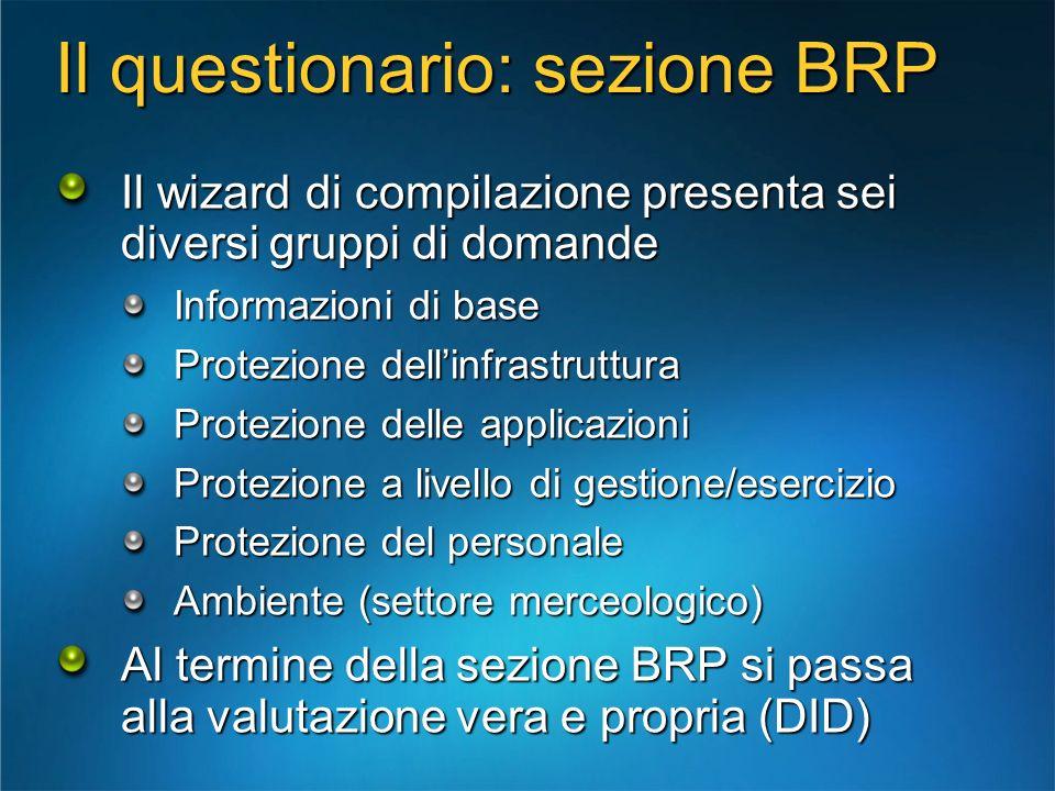 Il questionario: sezione BRP