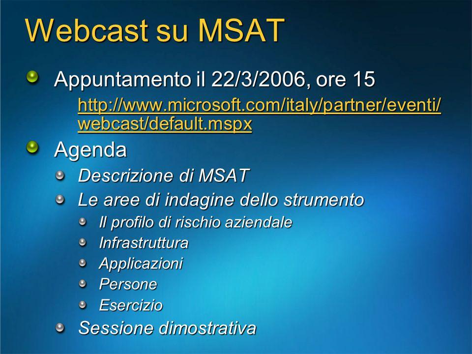 Webcast su MSAT Appuntamento il 22/3/2006, ore 15 Agenda