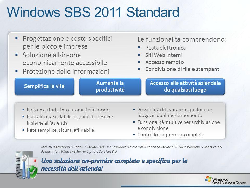 Windows SBS 2011 Standard Progettazione e costo specifici per le piccole imprese. Soluzione all-in-one economicamente accessibile.