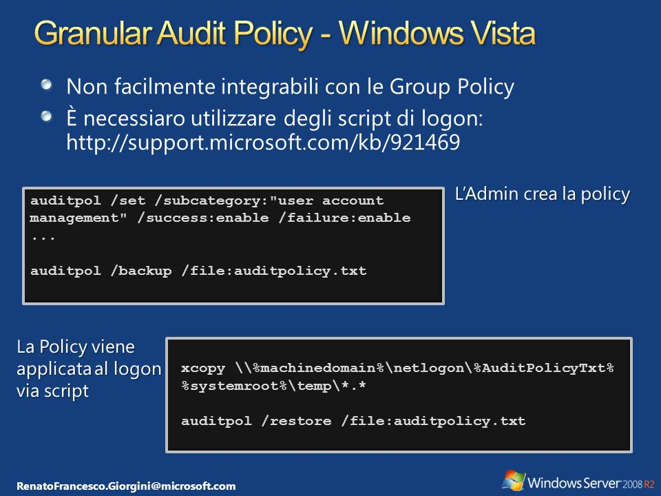 Granular Audit Policy - Windows Vista