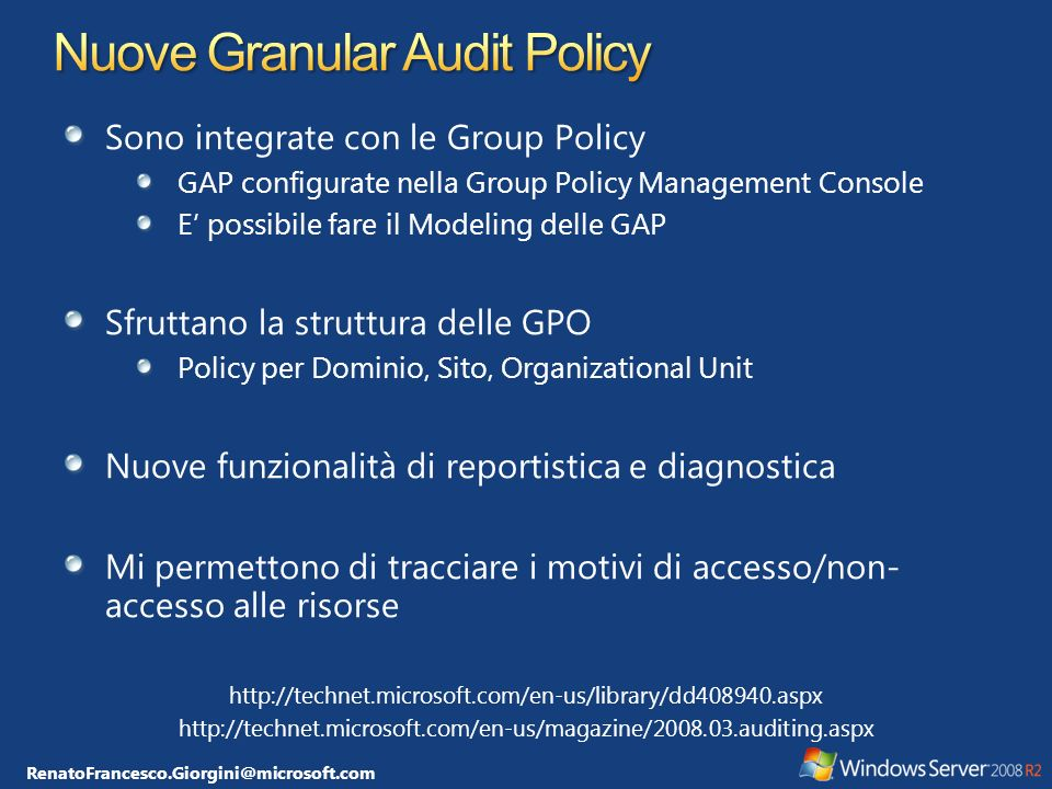 Nuove Granular Audit Policy