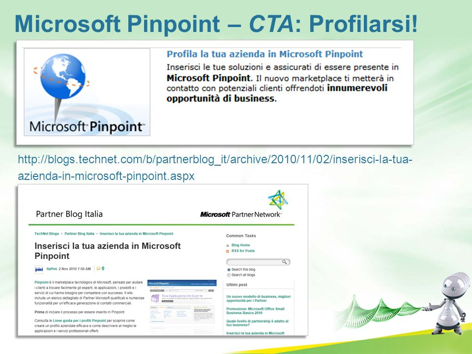 Microsoft Pinpoint – CTA: Profilarsi!