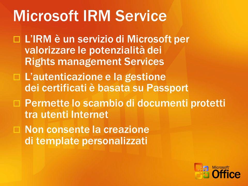 Microsoft IRM Service L'IRM è un servizio di Microsoft per valorizzare le potenzialità dei Rights management Services.