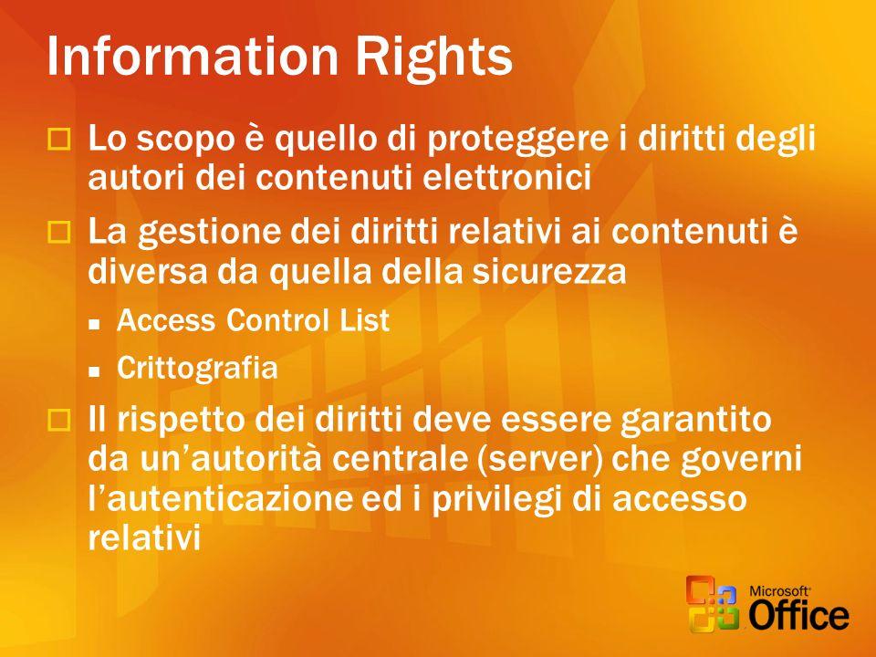 Information Rights Lo scopo è quello di proteggere i diritti degli autori dei contenuti elettronici.