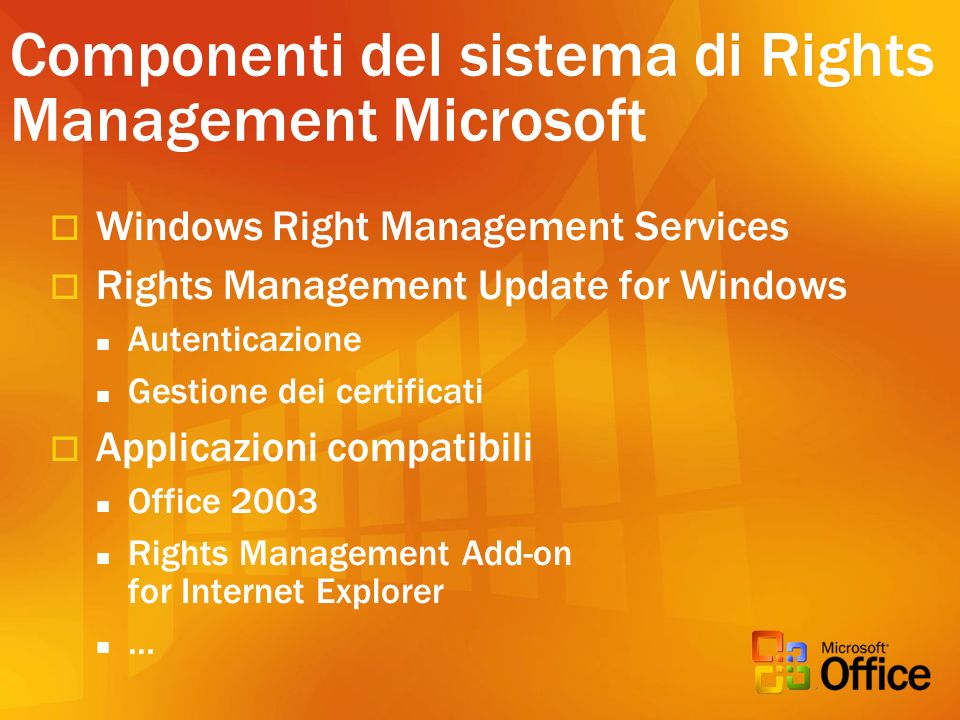 Componenti del sistema di Rights Management Microsoft