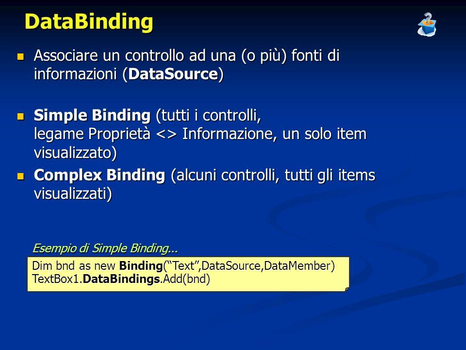 DataBinding Associare un controllo ad una (o più) fonti di informazioni (DataSource)