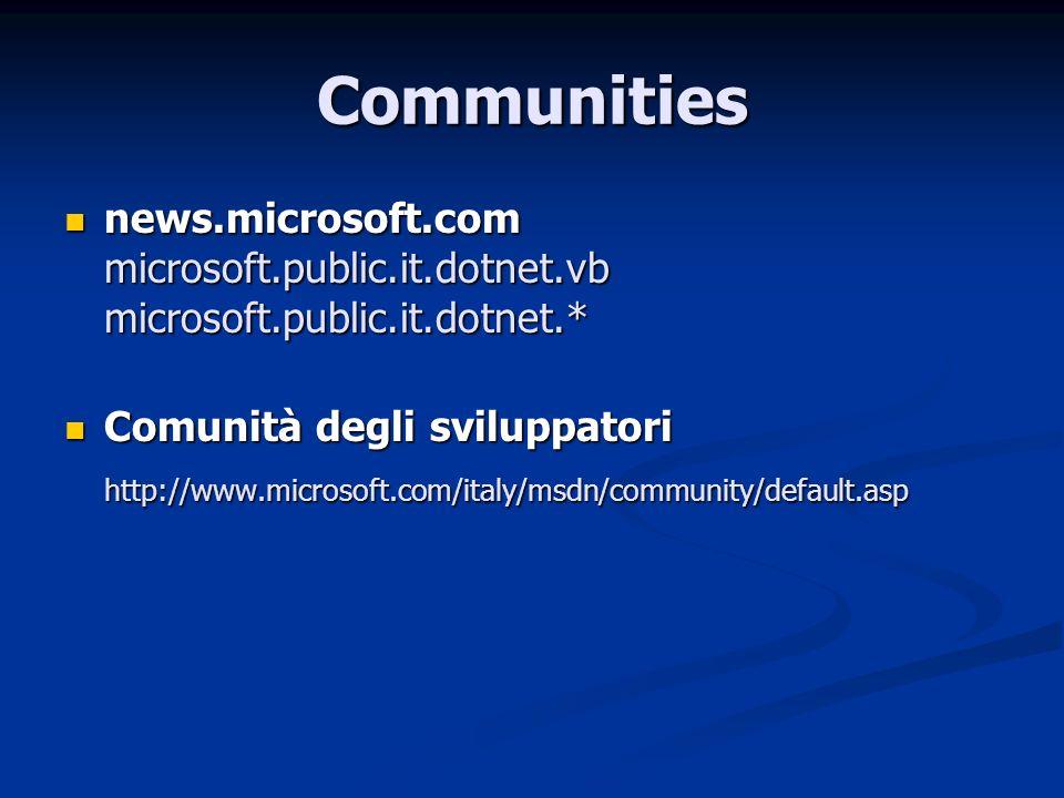 Communities news.microsoft.com microsoft.public.it.dotnet.vb microsoft.public.it.dotnet.* Comunità degli sviluppatori.