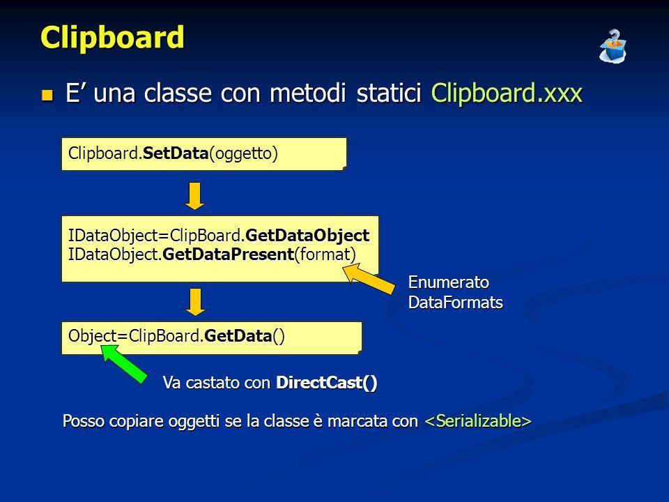 Clipboard E' una classe con metodi statici Clipboard.xxx