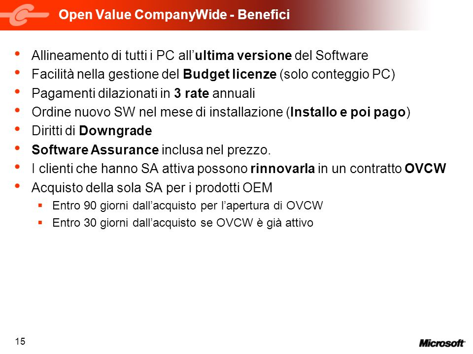 Open Value CompanyWide - Benefici