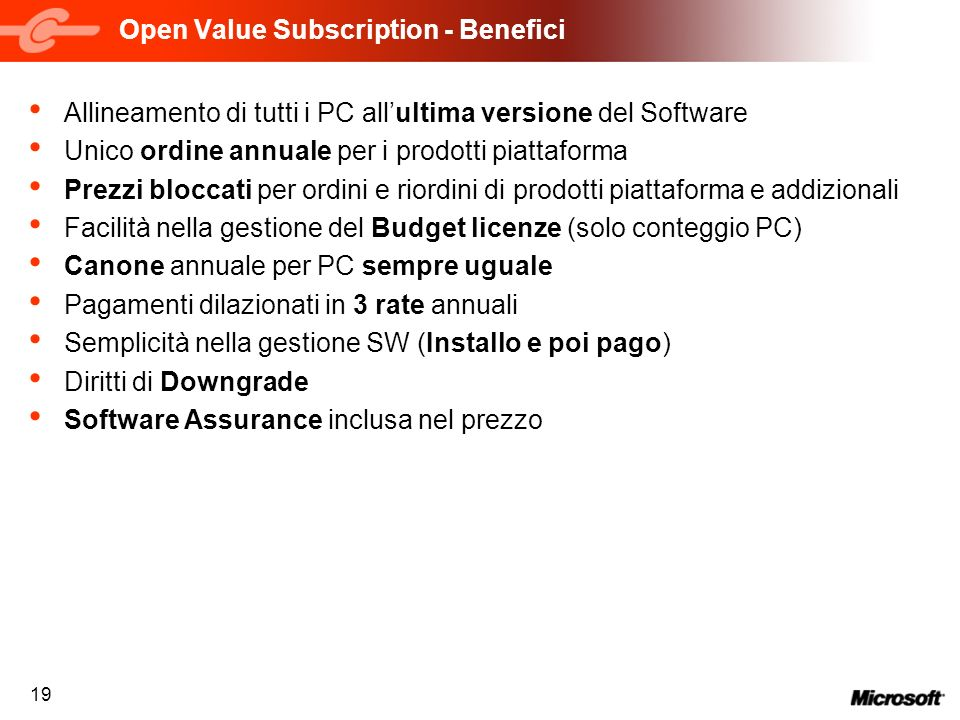 Open Value Subscription - Benefici