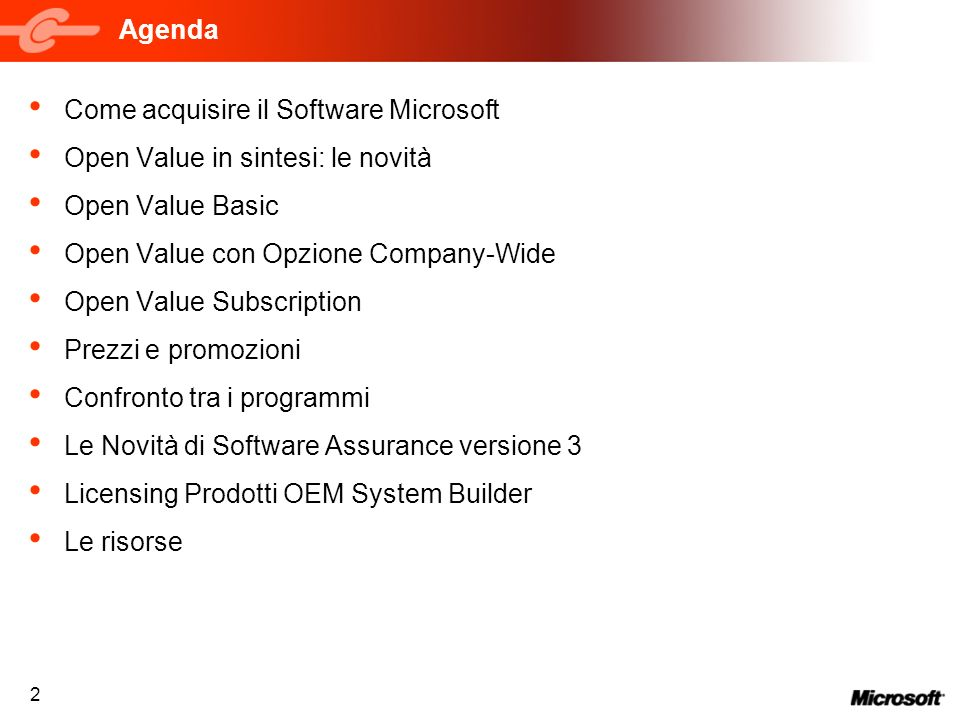 Agenda Come acquisire il Software Microsoft. Open Value in sintesi: le novità. Open Value Basic. Open Value con Opzione Company-Wide.