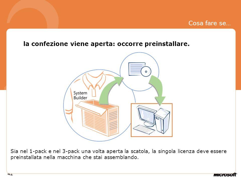 2 Cosa fare se… la confezione viene aperta: occorre preinstallare.