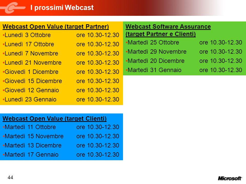 I prossimi Webcast Webcast Open Value (target Partner)
