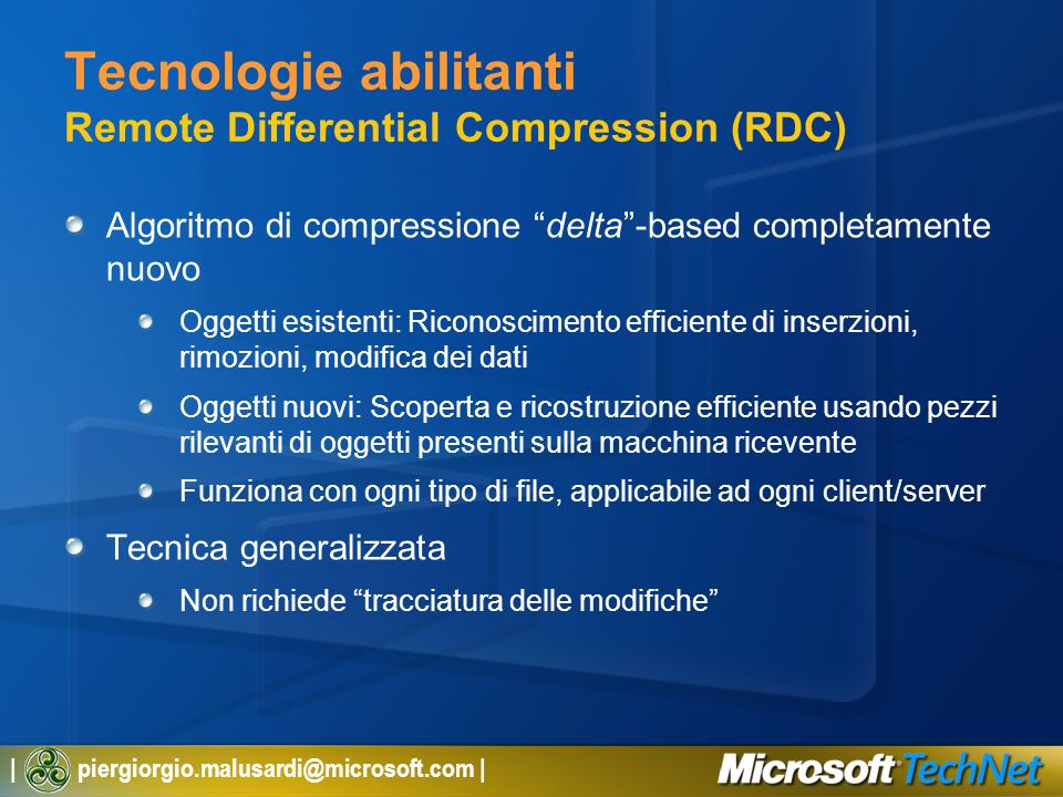 Tecnologie abilitanti Remote Differential Compression (RDC)
