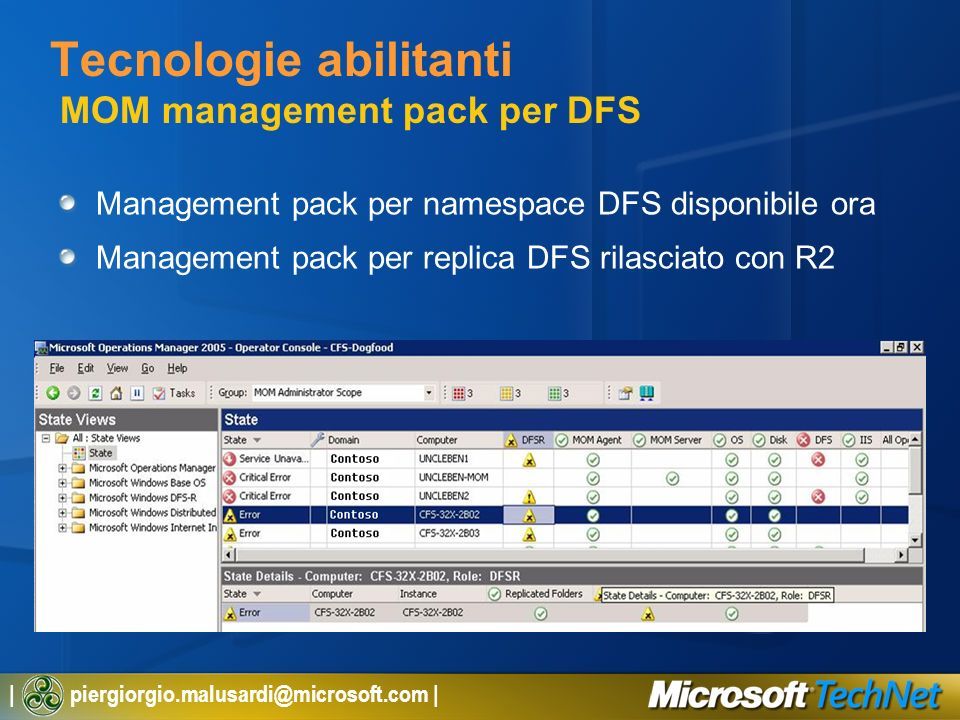 Tecnologie abilitanti MOM management pack per DFS