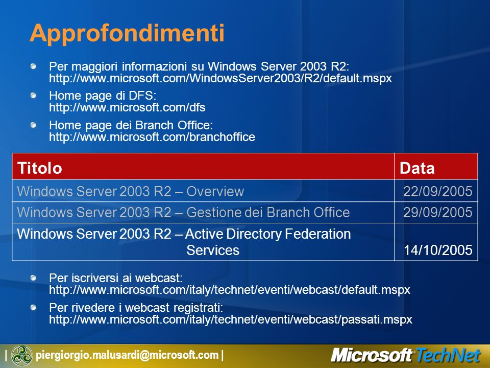 Approfondimenti Titolo Data Windows Server 2003 R2 – Overview
