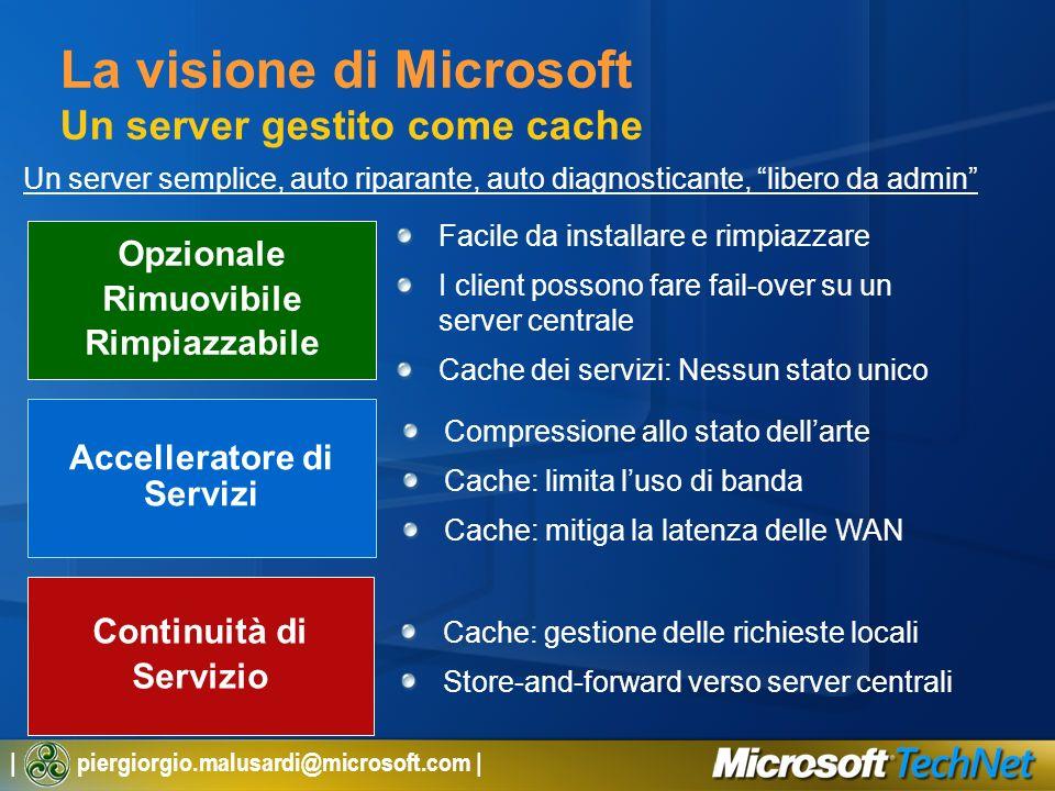 La visione di Microsoft Un server gestito come cache