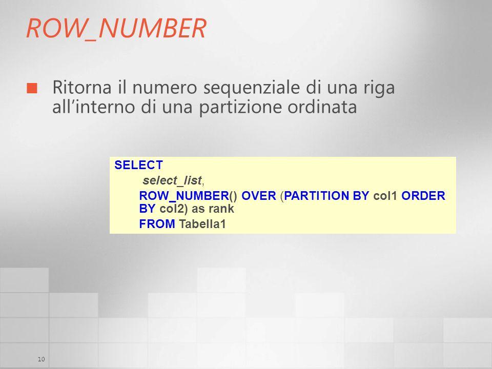 3/29/2017 6:35 AM ROW_NUMBER. Ritorna il numero sequenziale di una riga all'interno di una partizione ordinata.