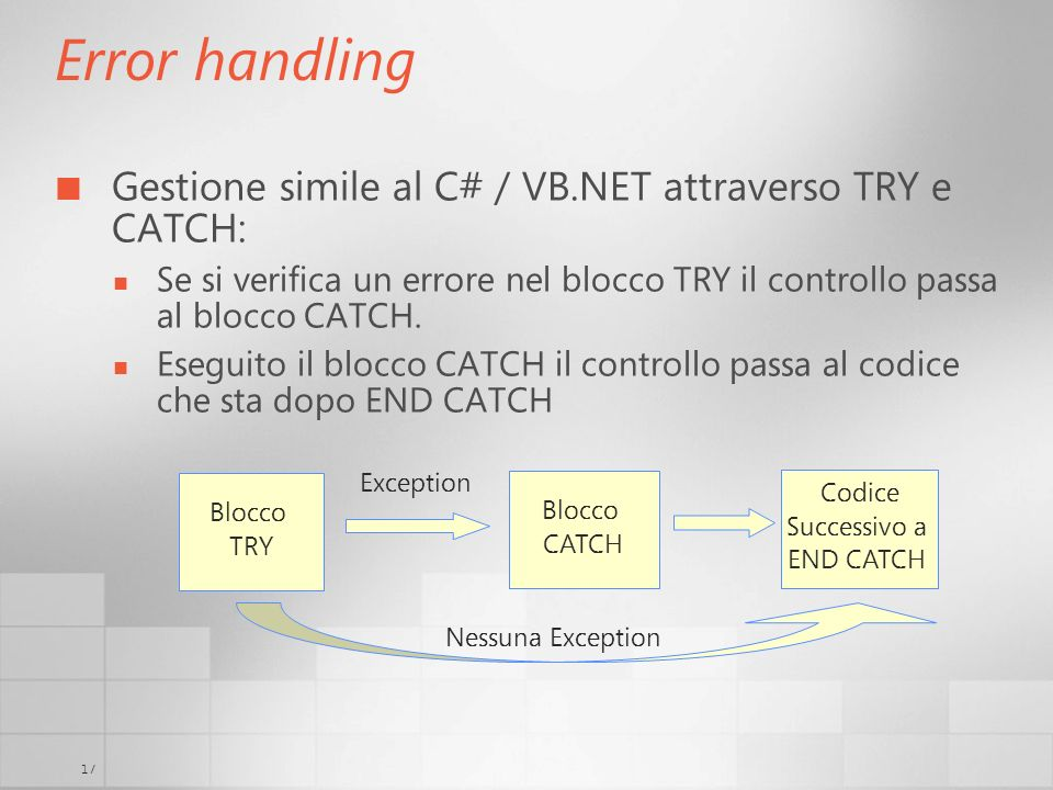 Error handling Gestione simile al C# / VB.NET attraverso TRY e CATCH:
