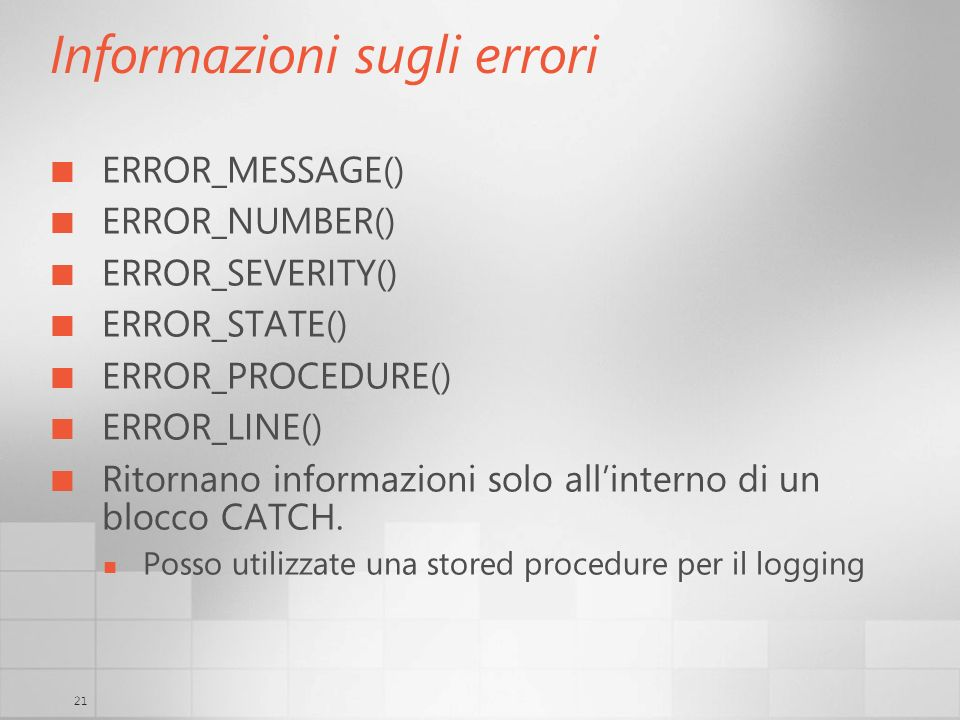Informazioni sugli errori