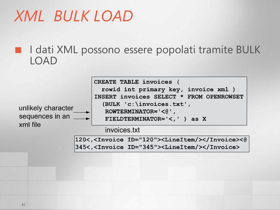 XML BULK LOAD I dati XML possono essere popolati tramite BULK LOAD