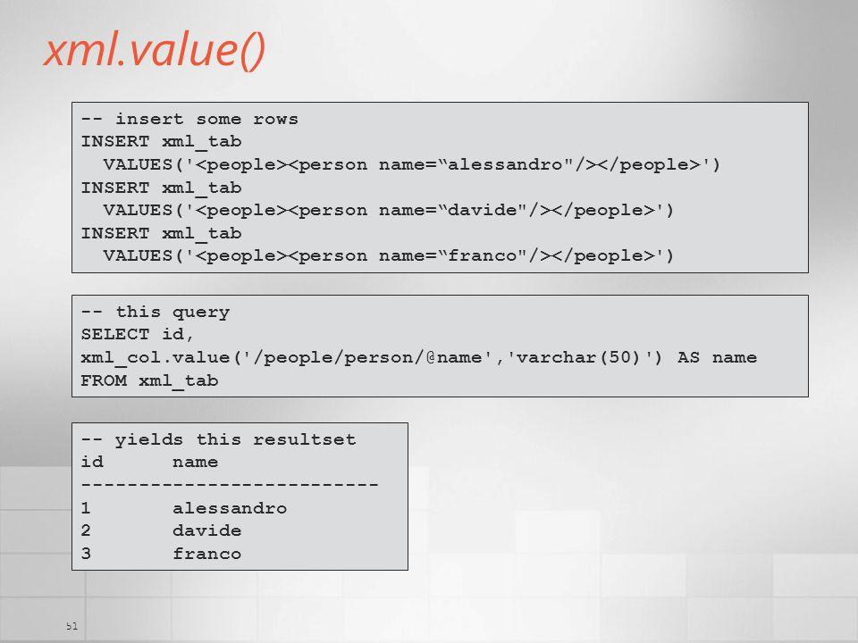 xml.value() -- insert some rows INSERT xml_tab
