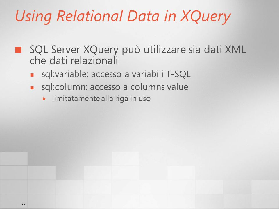 Using Relational Data in XQuery