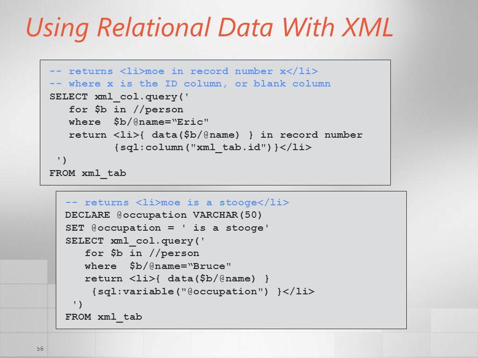 Using Relational Data With XML