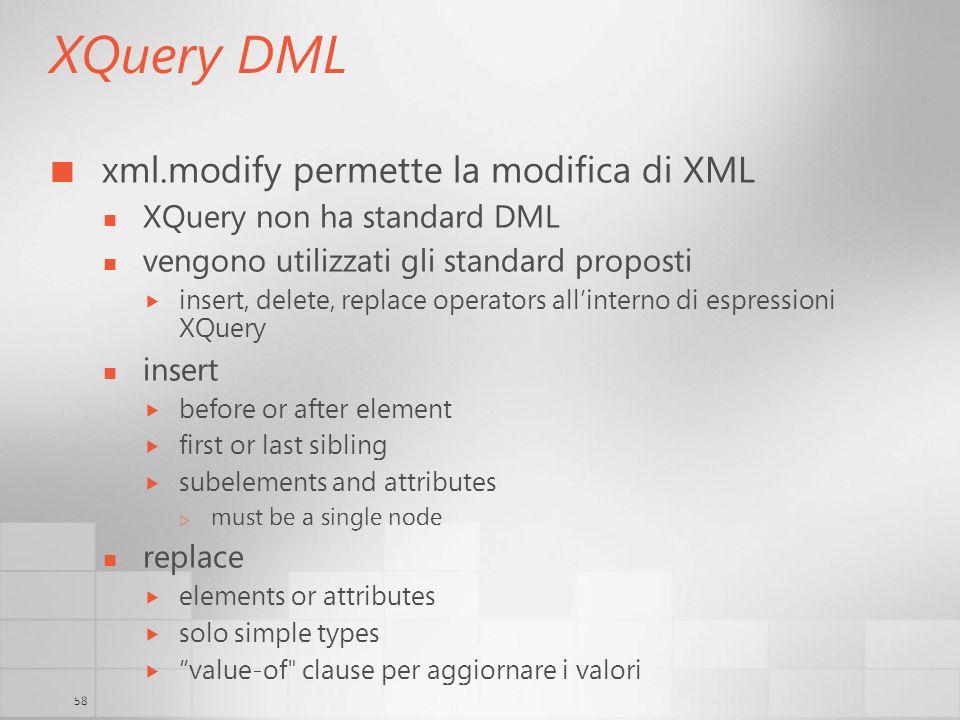 XQuery DML xml.modify permette la modifica di XML