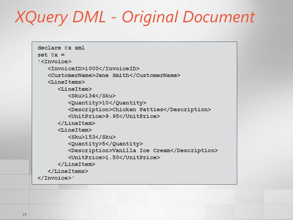 XQuery DML - Original Document