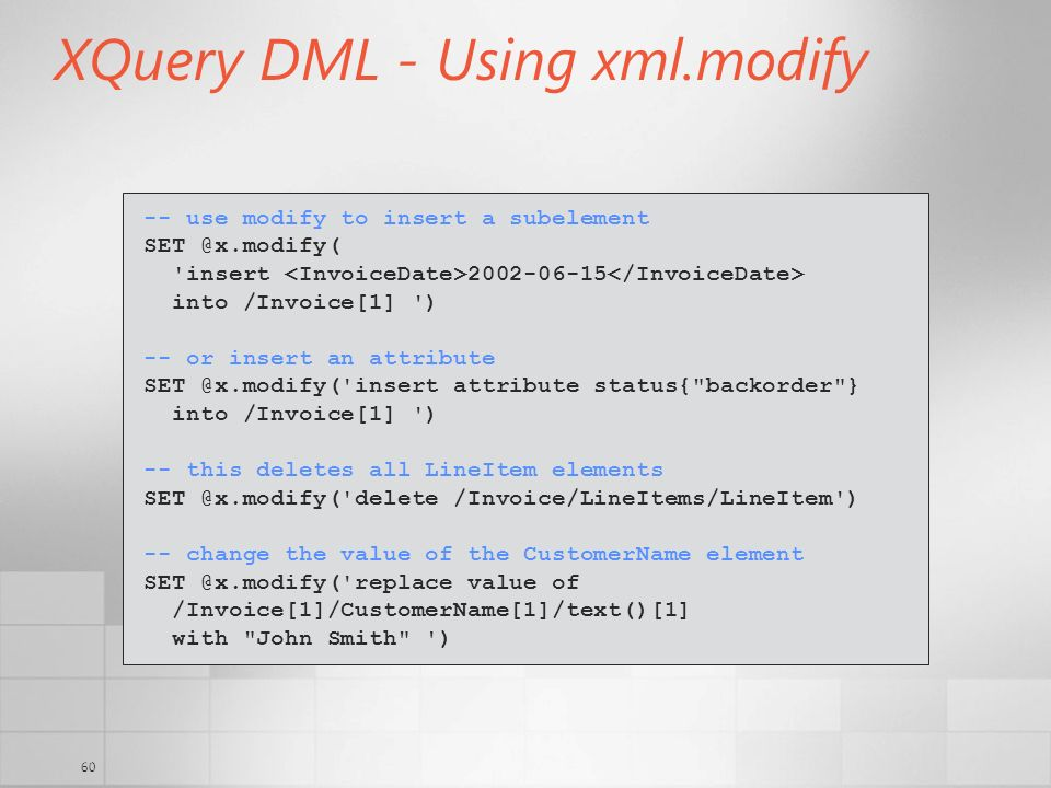XQuery DML - Using xml.modify