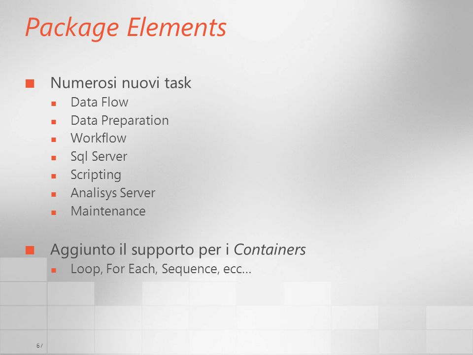 Package Elements Numerosi nuovi task