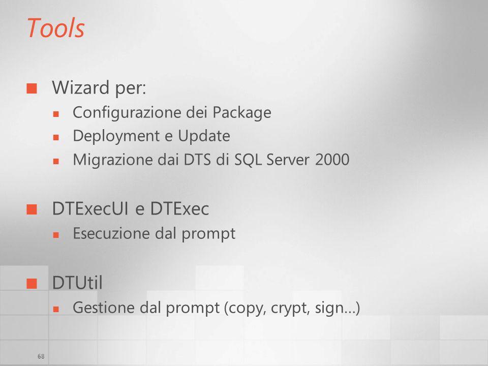 Tools Wizard per: DTExecUI e DTExec DTUtil Configurazione dei Package
