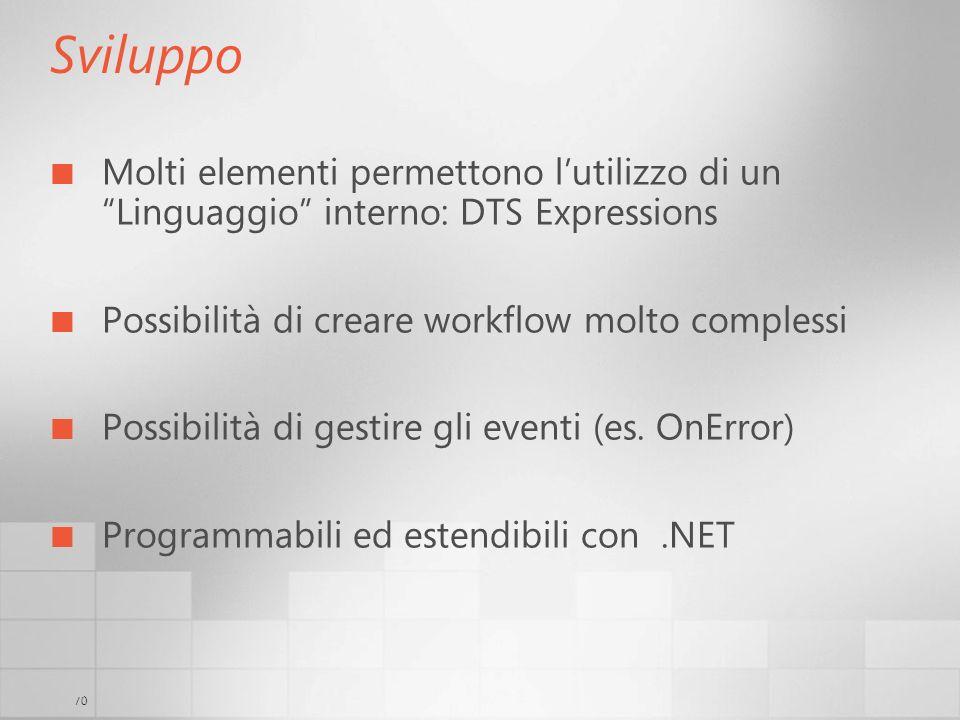 3/29/2017 6:35 AM Sviluppo. Molti elementi permettono l'utilizzo di un Linguaggio interno: DTS Expressions.