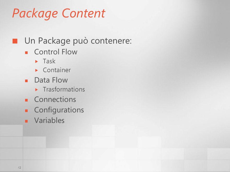 Package Content Un Package può contenere: Control Flow Data Flow