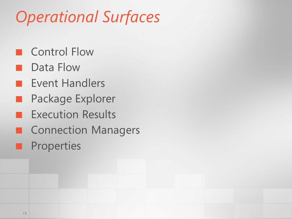 Operational Surfaces Control Flow Data Flow Event Handlers