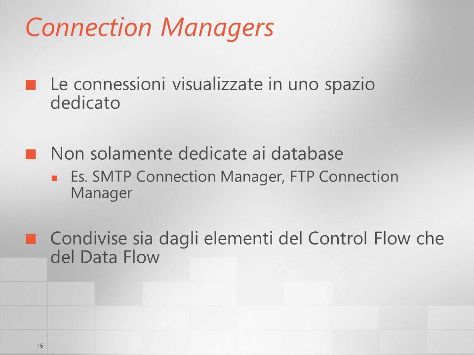 Connection Managers Le connessioni visualizzate in uno spazio dedicato