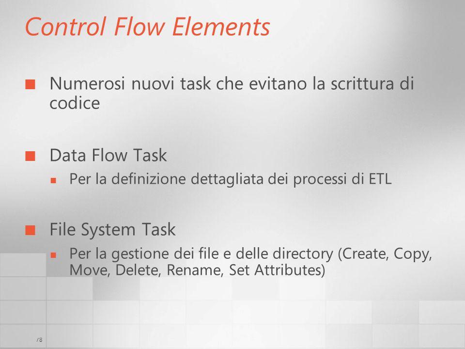 3/29/2017 6:35 AM Control Flow Elements. Numerosi nuovi task che evitano la scrittura di codice. Data Flow Task.