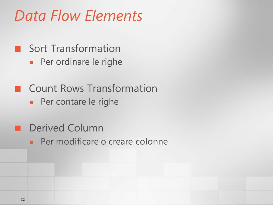 Data Flow Elements Sort Transformation Count Rows Transformation