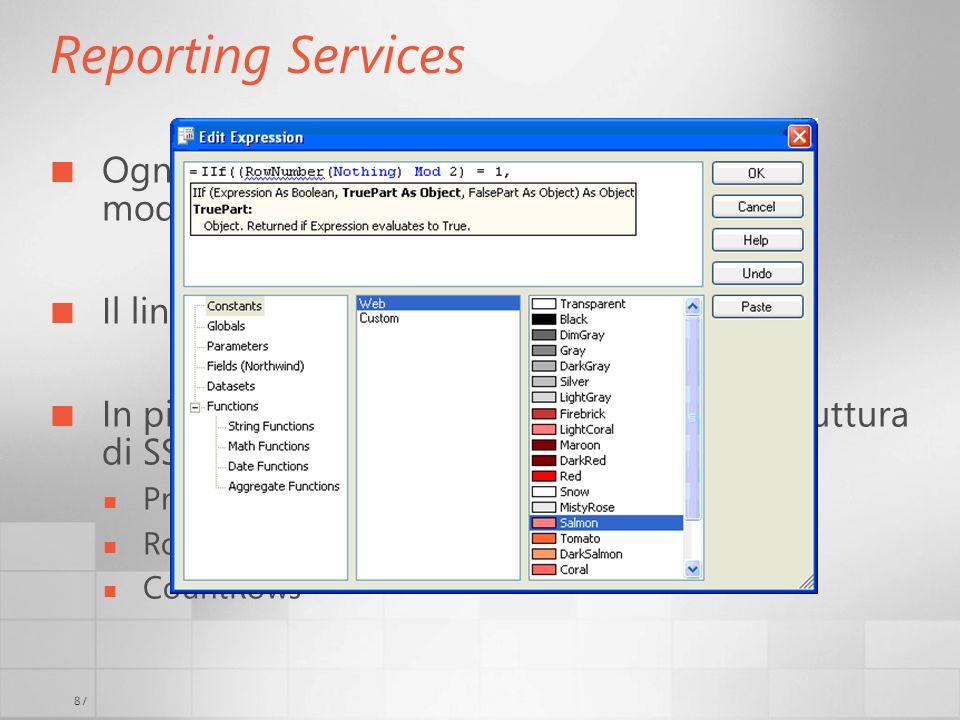3/29/2017 6:35 AM Reporting Services. Ogni proprietà visibile (e non) può essere modificata tramite l'uso di expressions.