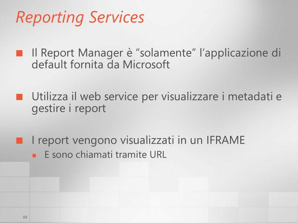 3/29/2017 6:35 AM Reporting Services. Il Report Manager è solamente l'applicazione di default fornita da Microsoft.