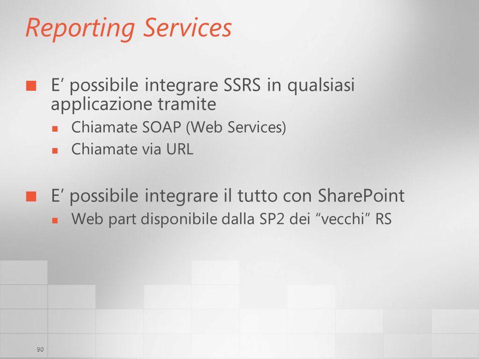 3/29/2017 6:35 AM Reporting Services. E' possibile integrare SSRS in qualsiasi applicazione tramite.