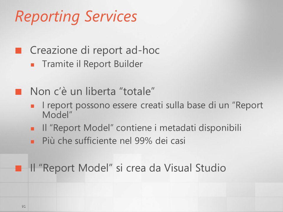 Reporting Services Creazione di report ad-hoc
