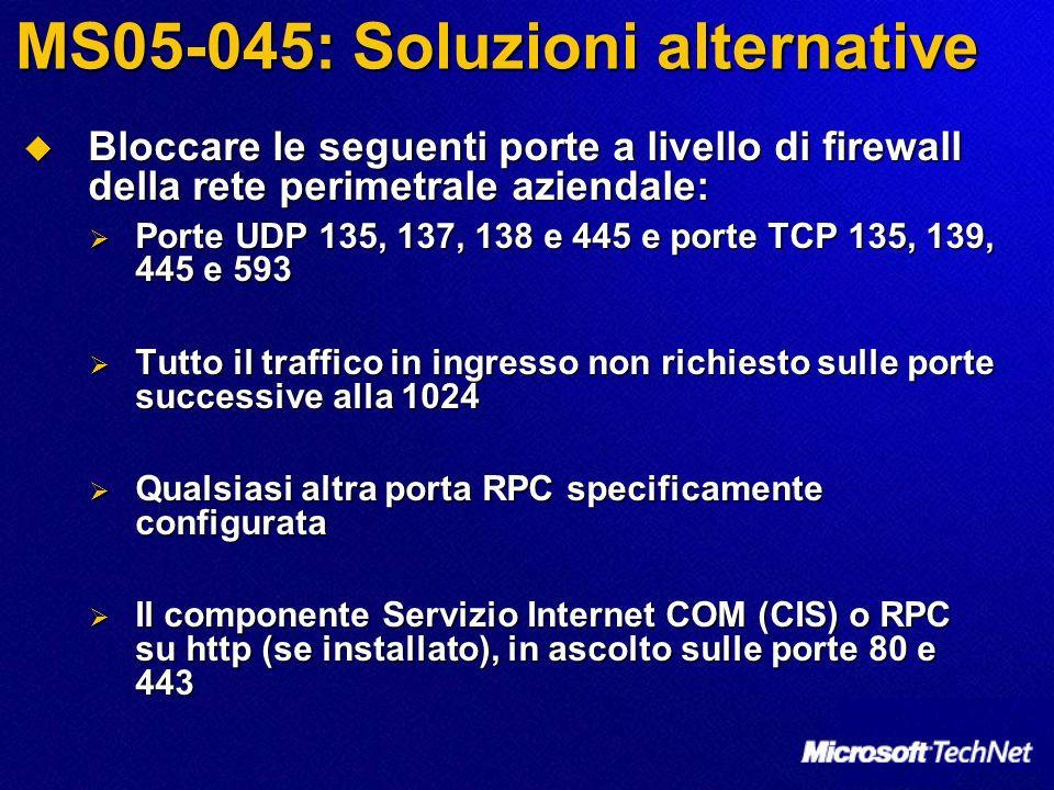 MS05-045: Soluzioni alternative