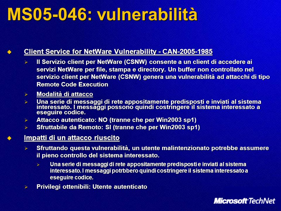 MS05-046: vulnerabilità Client Service for NetWare Vulnerability - CAN-2005-1985.