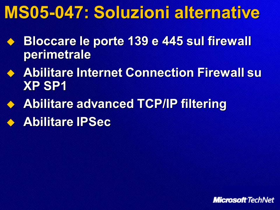 MS05-047: Soluzioni alternative