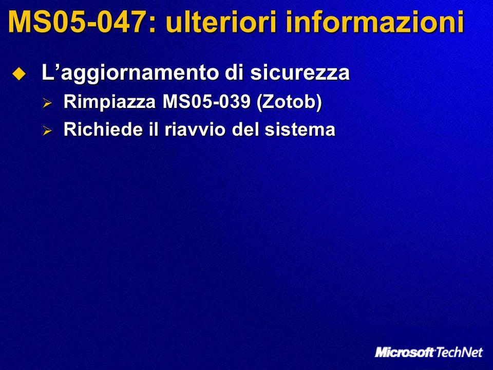 MS05-047: ulteriori informazioni