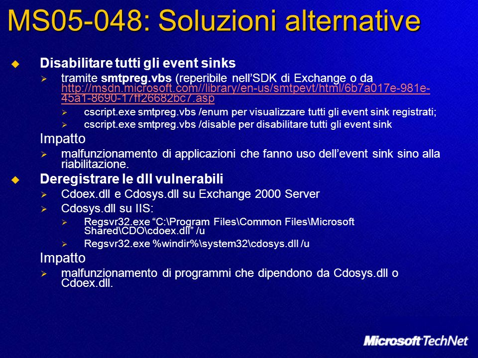 MS05-048: Soluzioni alternative