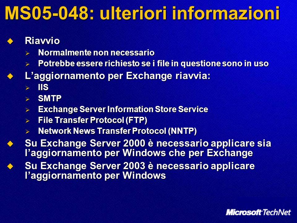 MS05-048: ulteriori informazioni